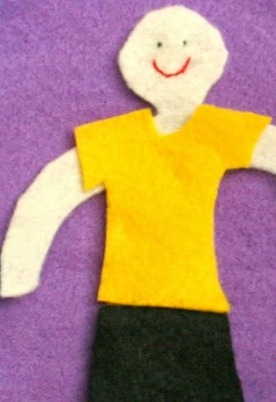 """Parenting win! Use a felt """"weather doll"""" to show the kids which clothes to wear for the weather. No more power struggles over seasonally inappropriate choices. Free template. www.booksandgiggles.com"""