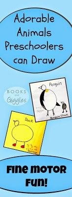 Simple tutorial showing how preschoolers can draw 3 different animals using 1 template