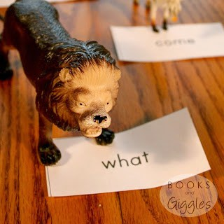 Fun sight word game with toy animals, great for kids who love pretend play!