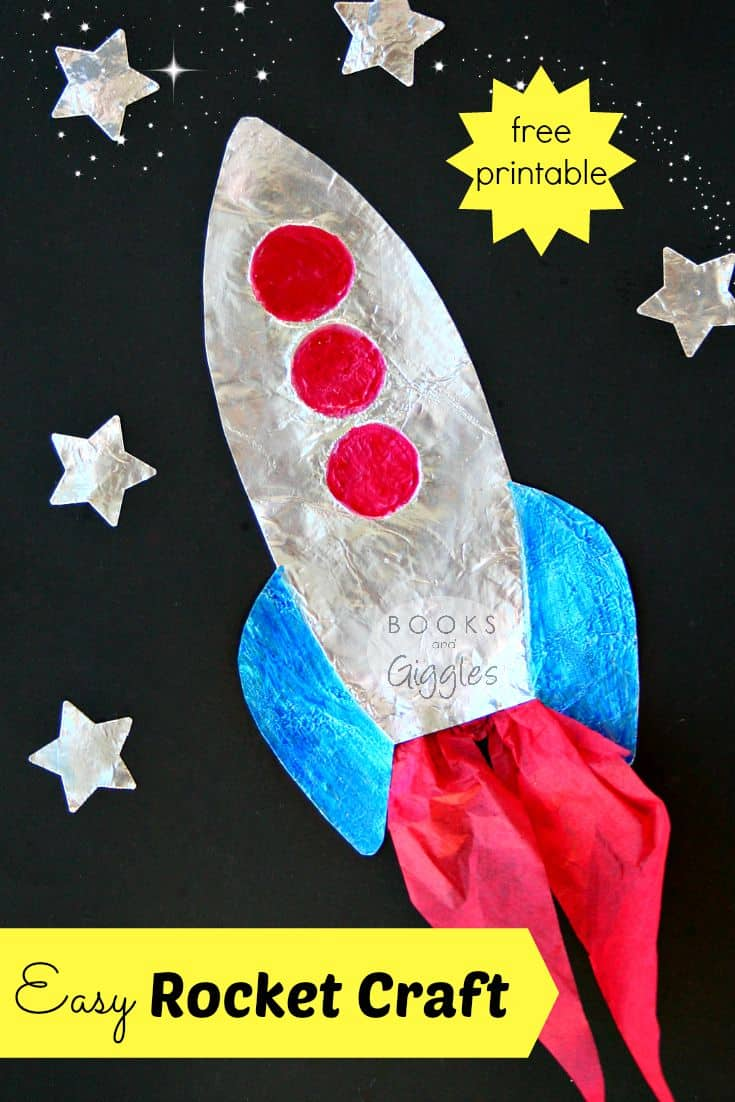 rocket craft for kids with stars surrounding it