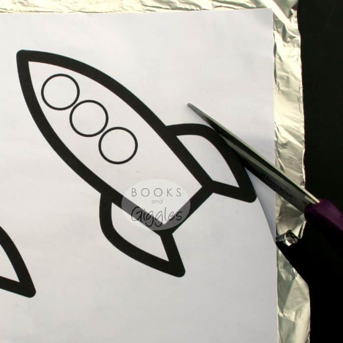 cutting out the rocket craft template