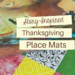 closeup of thanksgiving placemat and picture book