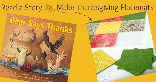Read a Story, Make Thanksgiving Placemats, with book cover and craft shown