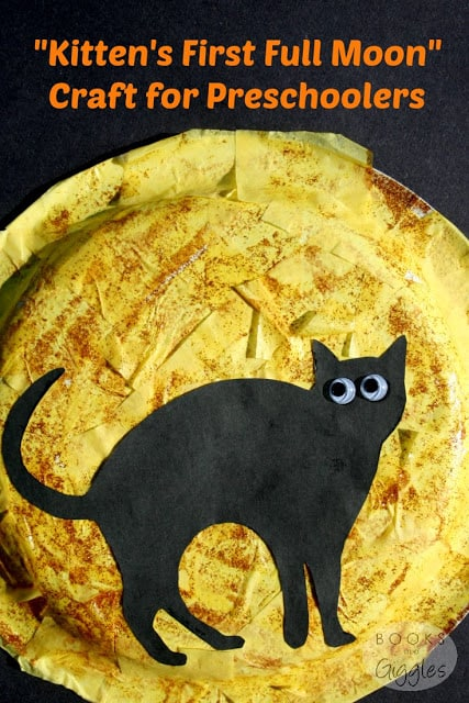 Picture book paper plate craft to go with Kitten's First Full Moon. Can also be a Halloween cat activity for preschoolers.