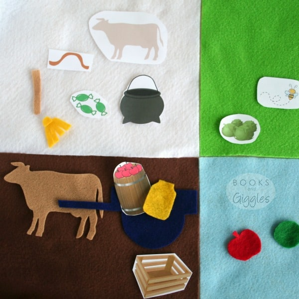 "Free printable template to make a kids storytelling basket for the Caldecott winning story ""Ox-Cart Man."" Appropriate for older preschoolers, kindergarten or early elementary. Could also be used on a felt board."