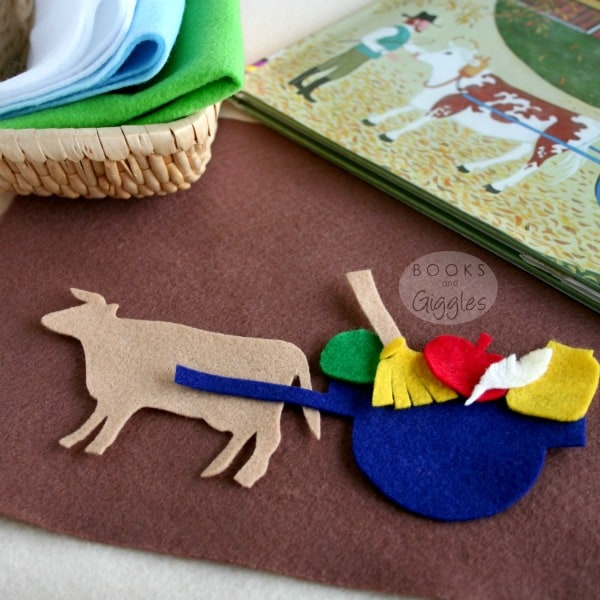 """Free printable template to make a kids storytelling basket for the Caldecott winning story """"Ox-Cart Man."""" Appropriate for older preschoolers, kindergarten or early elementary. Could also be used on a felt board."""
