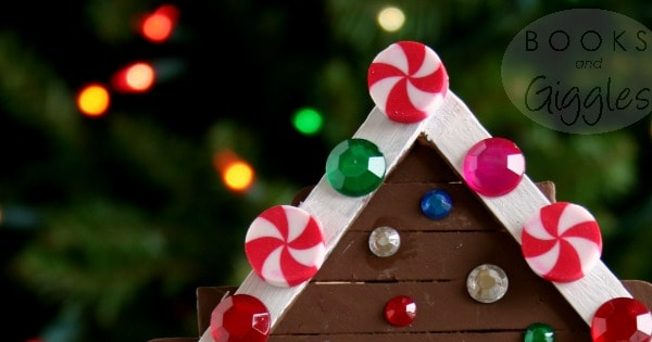 Kids' gingerbread house craft made with popsicle sticks and items from the craft box. This is a big kid activity that will hold their attention! Includes a story to accompany the craft.
