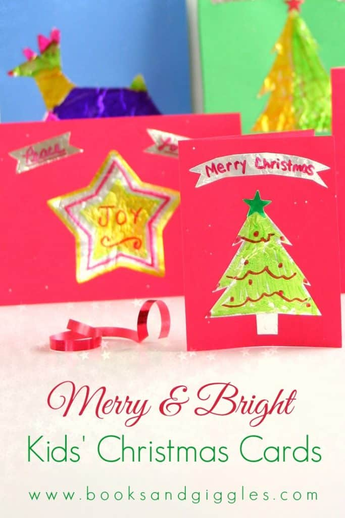 A handmade Christmas card craft for kids, using a special, easy technique to make foil cutout shapes. Can be adapted for all ages- preschooler, kindergarten, elementary, tweens, teens, or even adults.