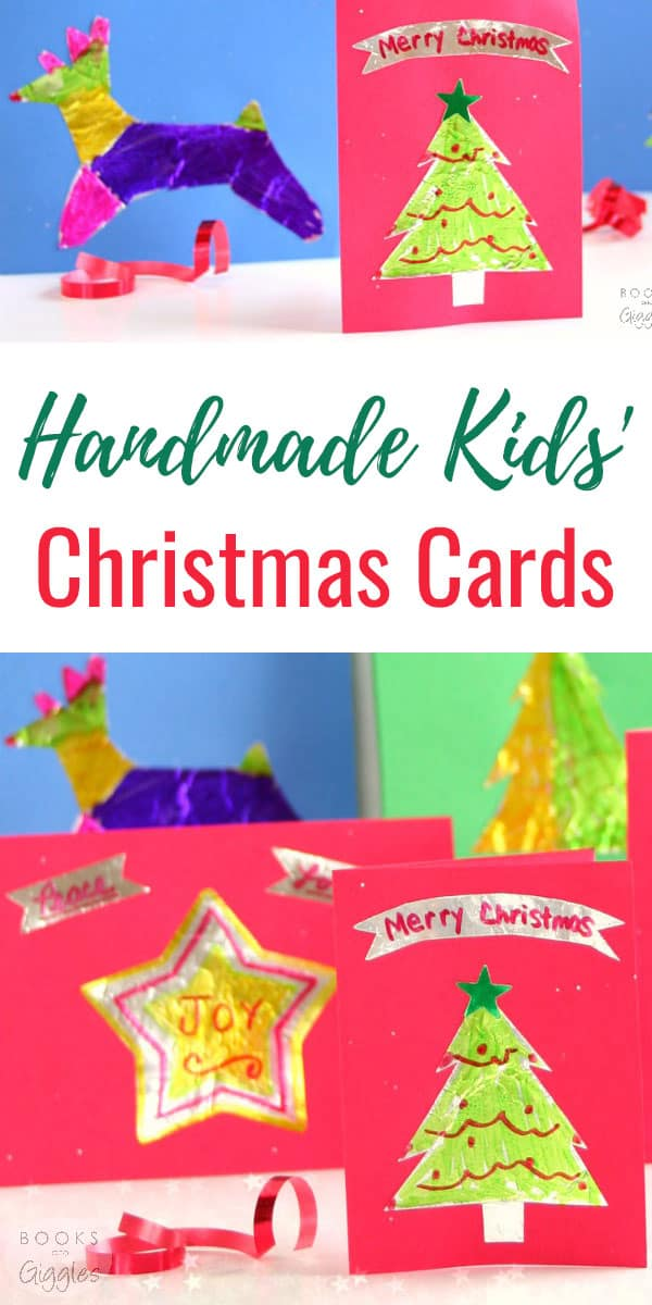 Kids' Christmas cards with foil cutouts using cookie cutter shapes. These are really fun to make (and easier than you'd guess)
