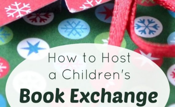 """closeup of christmas give with title """"How to Host a Children's Book Exchange Party"""""""