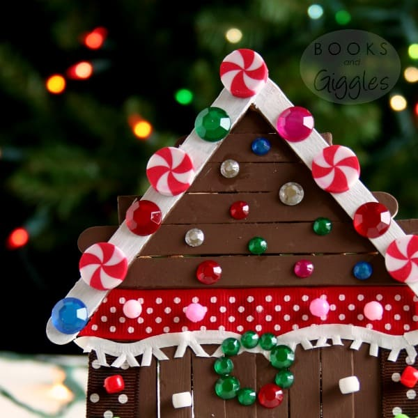 Kids Gingerbread House Craft Made With Popsicle Sticks