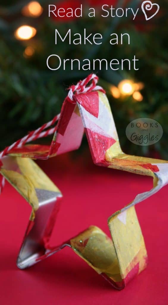 A cookie cutter Christmas ornament for kids to make, and a recommended picture book to go along with it. Holiday craft for preschoolers or big kids.