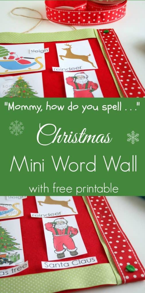 You can make a small word wall for your kids at home. Print this free printable Christmas word wall for your child's bedroom or playroom. Preschool or kindergarten kids will enjoy this December word wall.