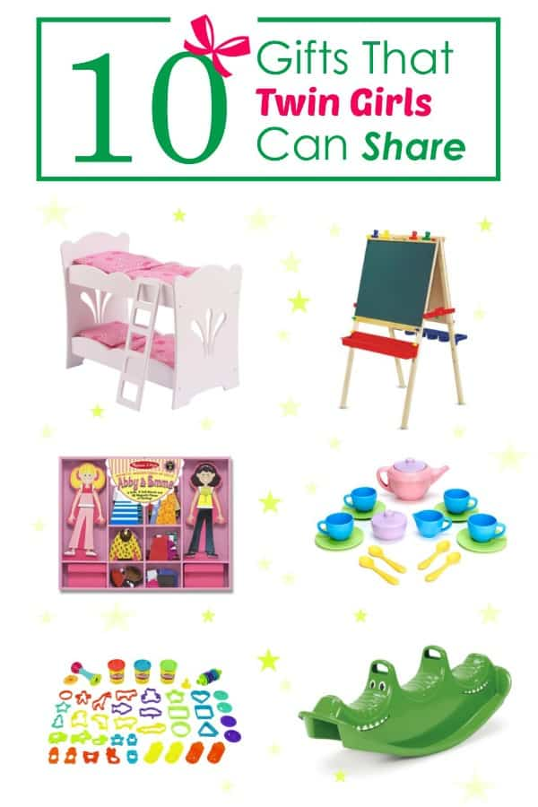 A list of 10 toys that are easy for twins to share. Focus is on girl-girl twins ages 2-6, but also includes some gender neutral toys.