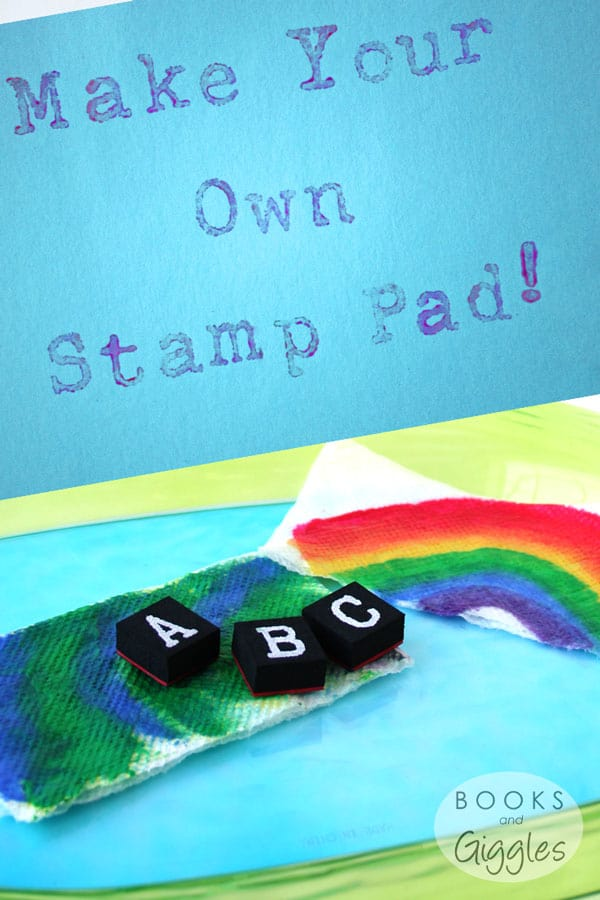 How to make your own washable stamp pad for kids, plus learning activities for preschoolers and kindergartners to do with letter stamps.