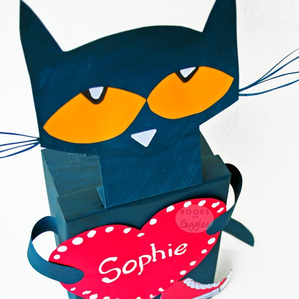 How to make a school Valentine box inspired by favorite children's book character Pete the Cat.