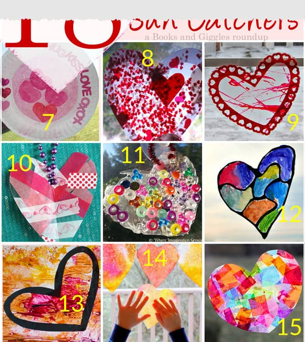 A roundup of 18 heart-shaped suncatchers for Valentine's Day. Wide variety of materials and methods, and for various ages of kids, including babies, toddlers, preschoolers, and older kids.