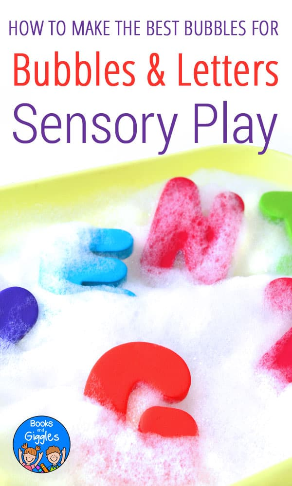 Alphabet sensory play with bubbles - try this easy hack for maximum bubbles!