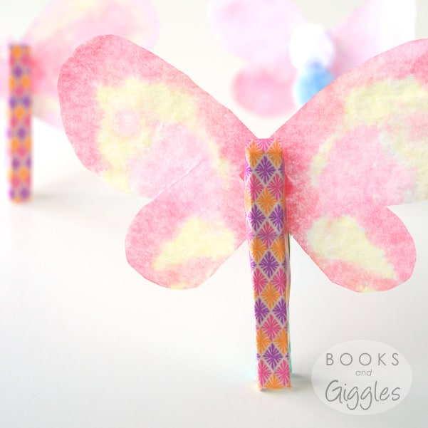 Spring butterfly craft for preschoolers - it's made from watercolors on coffee filters. The link gives more details.