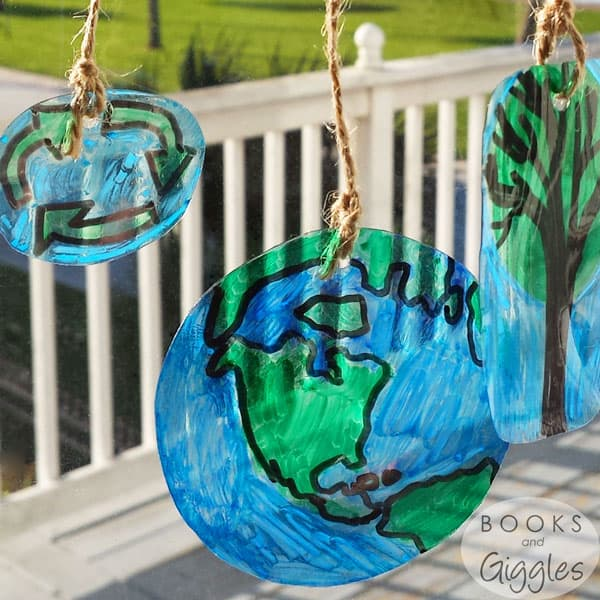 How to make Earth Day themed suncatchers out of upcycled plastic