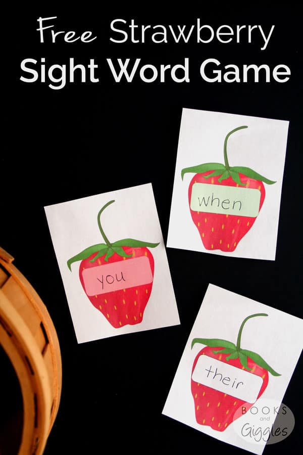 An active sight word game where kids pretend to go strawberry picking. Includes free printable game cards, plus links to more strawberry themed resources.