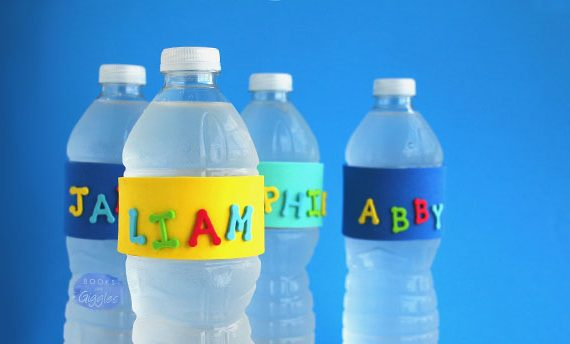 A simple way to keep track of everyone's water bottle at a party or gathering.