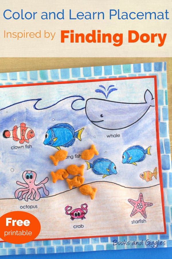 Finding Dory inspired learning activity | kid craft | literacy | Here's a fun way to add a little reading to snack time. Kids color and paint the free printable, then you frame it with pretty paper and cover it with contact paper.