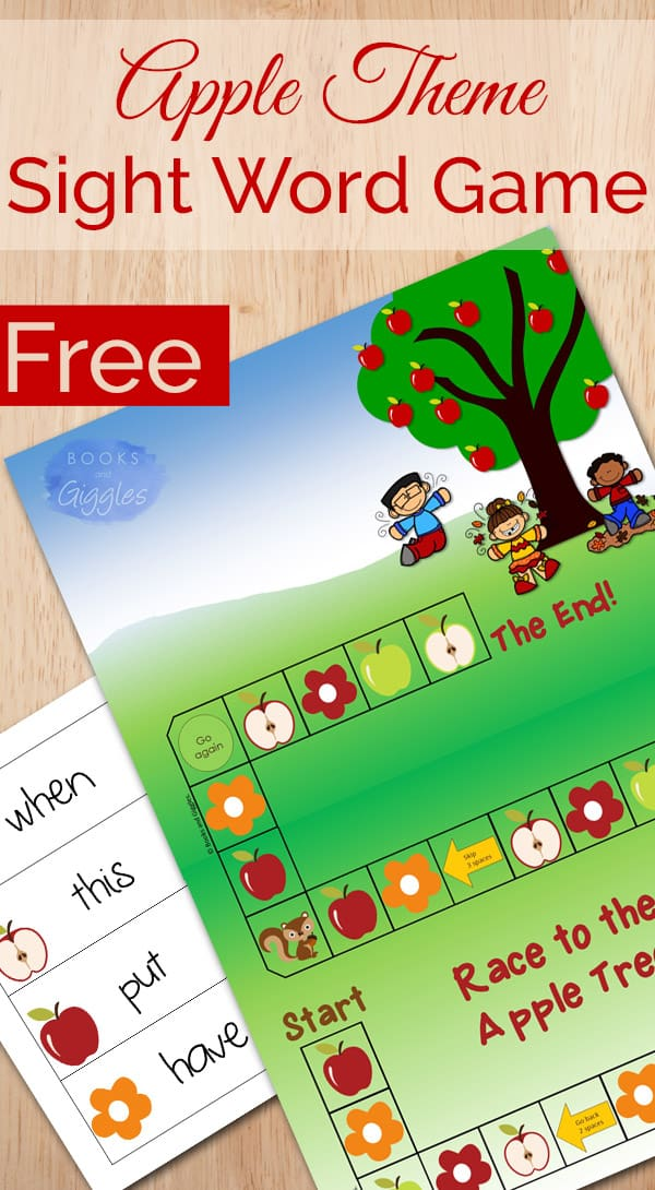 Apple theme sight word game. You just print it out, fill in the words to practice, and play. (Free printable)