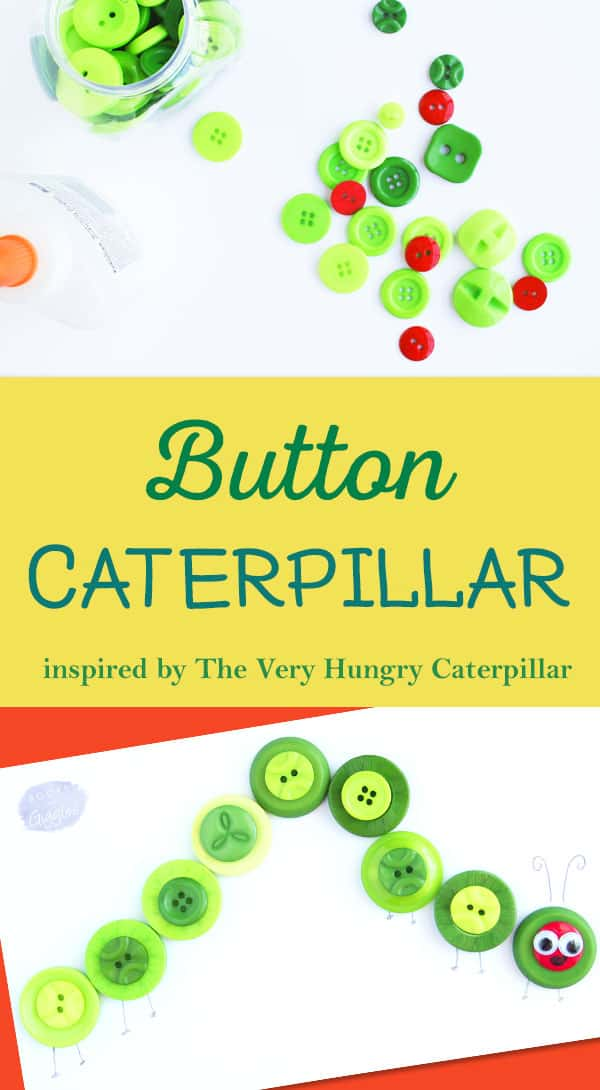 Simple kids button craft inspired by The Very Hungry Caterpillar