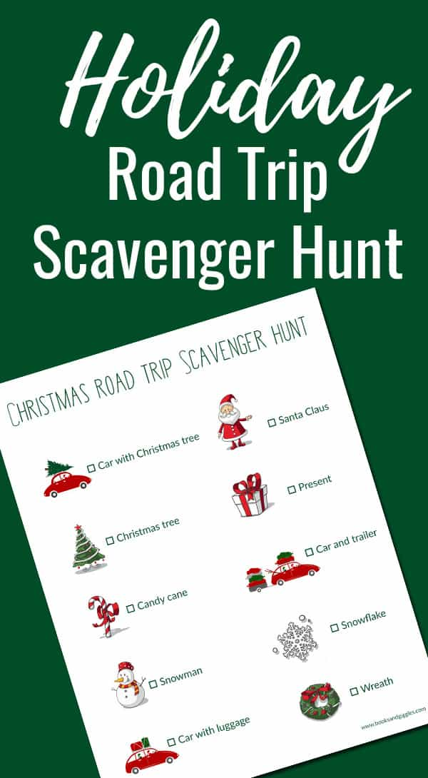 A free printable Christmas themed road trip scavenger hunt. Plus,how to keep siblings from fighting in the car. #shop
