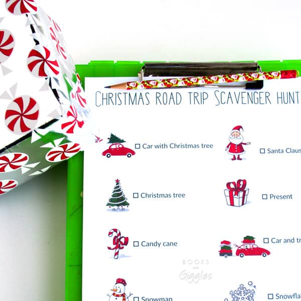 Tips on keeping siblings from fighting on car trips, plus a free printable Christmas road trip scavenger hunt. #shop