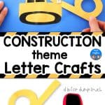 bulldozer letter b craft and dump truck letter d craft