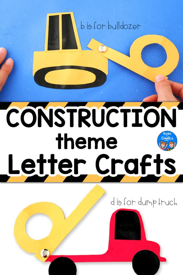 bulldozer letter b craft and dump truck letter d craft