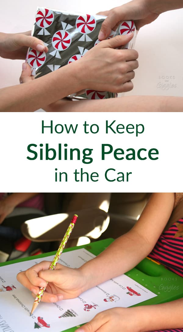 How to prevent siblings from fighting on car trips, plus a free printable Christmas road trip scavenger hunt. #shop
