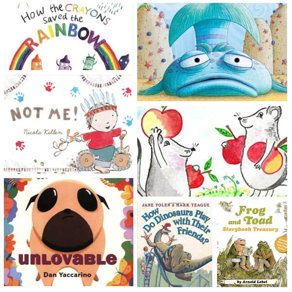 collage of picture books about friendship