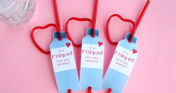 Free printable kids valentine cards - perfect for tweens who love water bottle flipping