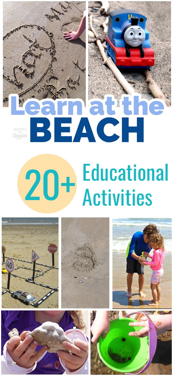 Beach learning activities for kids, including fun literacy and STEM ideas.
