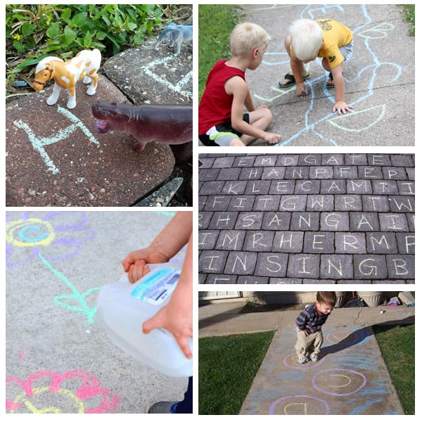 Sidewalk chalk games and activities for practicing ABC's, letter sounds, sight words and more.