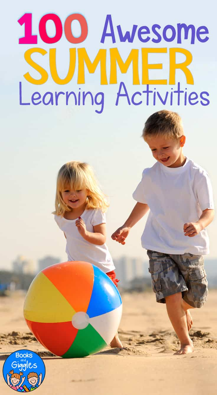Summer educational activities for kids! Take learning outside with 100+ summer learning activities, sorted by skill and activity type. These ideas will fight summer slide with FUN!
