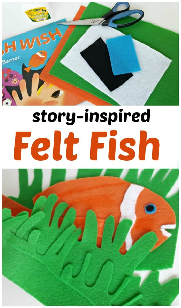 Felt board activity for the book Fish Wish - a sensory play book extension activity for preschoolers