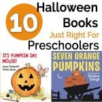 collage of Halloween books for preschoolers