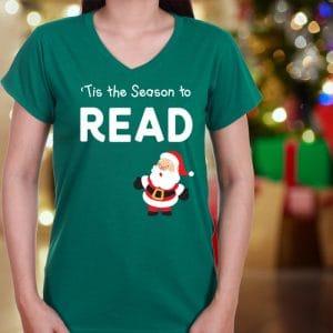 Christmas reading teacher t shirt