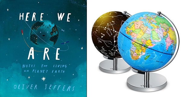 Here We Are book and world globe