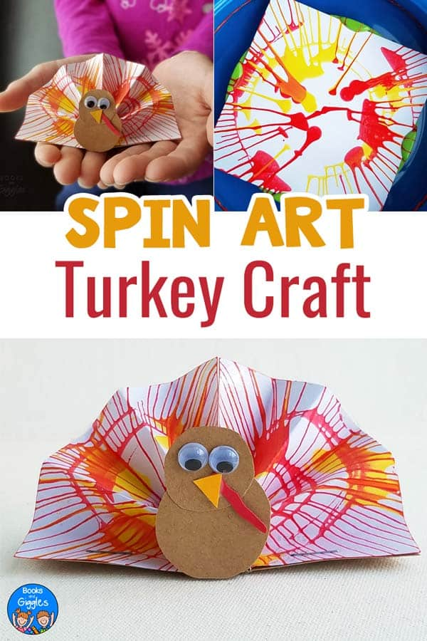Turkey crafts! This spin art turkey craft is fun for all ages. Perfect for the kids table this Thanksgiving.
