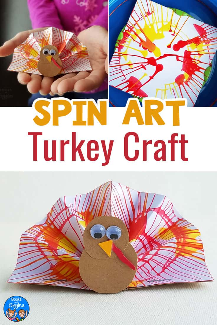 Turkey crafts! This spin art turkey craft is fun for all ages. Perfect for the kids table this Thanksgiving. #thanksgivingcraftsforkids #TurkeyCrafts