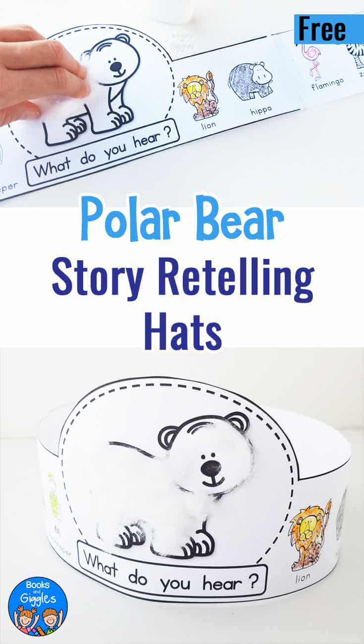 Polar Bear Polar Bear activity with a printable story retelling hat for preschoolers