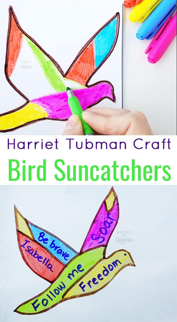 Suncatchers with meaning! This Harriet Tubman craft ties in with the children's biography