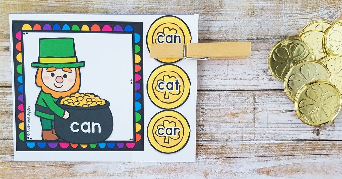 St. Patrick's day leprechaun themed printable sight word activity clothespin and gold plastic coins