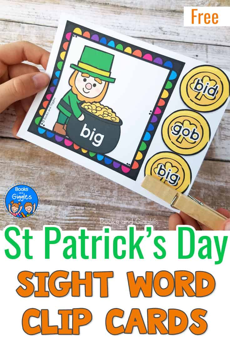 St Patrick's Day sight word activity for pre-K! These leprechaun clip cards give students practice matching pre-primer sight words. #stpatricksday #preschool #saintpatricksday