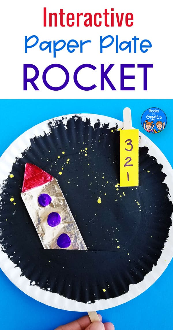 Interactive paper plate rocket craft that lets kids count down to blastoff, and then pretend their rocket is soaring into space!